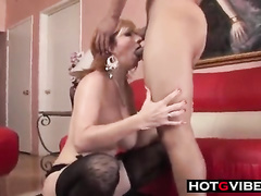 Horny granny gets used by big black dick in her mouth and pussy with a hot cum inside in the end. She also shows us blowjob skills and passionate doggystyle fucking.
