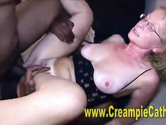 Sweaty GILF gets creampied by a thick black cock