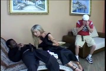 Blonde white widow mom fucks w bbc in front of son