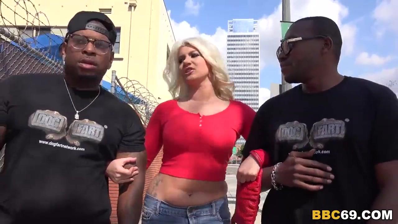Blonde wife gets dp by big black dicks