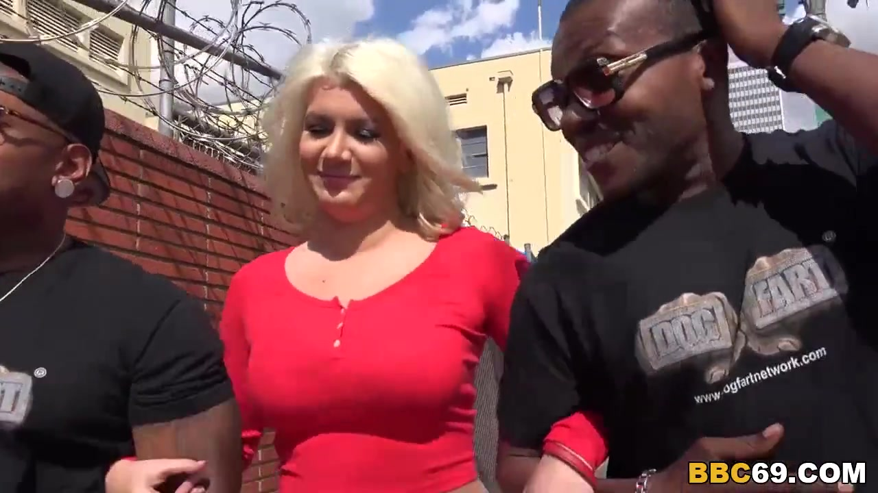 Blonde wife gets dp by big black dicks