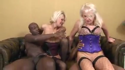 Two old hookers have anal sex with 2 bbc's