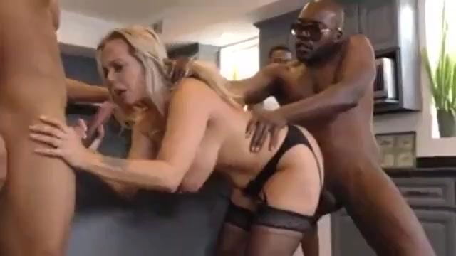 White blonde cougar mom gets bbc gangbang
