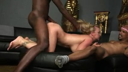 Blonde white wife gets all her holes filled by two blacks
