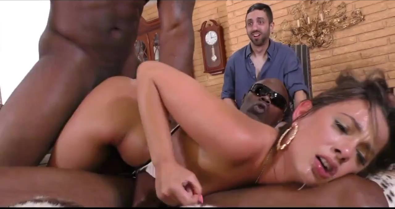 Young wife gets totally destroyed by 2 black bulls
