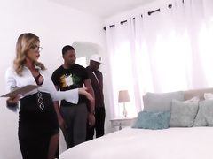 Australian cougar gets creampied by two black cocks