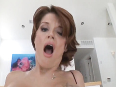 Busty redhead cuckold wife in fishnets takes BBC