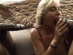 Beautiful blonde hotwife's first interracial MMF threesome