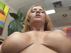 Busty white cougar mom Janet made to suck BBC