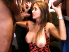 Sexy latina mommy gets three BBC's in her holes