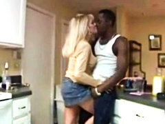 Blonde housewife takes black cock in front of husband